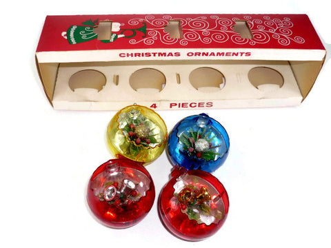 Vintage Jewelbrite Diorama Christmas Ornaments