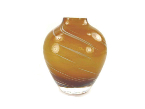 Vintage Amber Blown Glass Vase