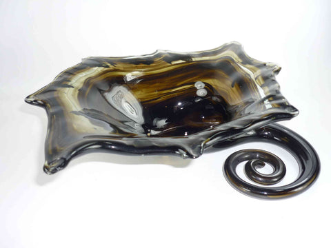 Vintage Brown Art Glass Splat Vase Centerpiece or Ashtray
