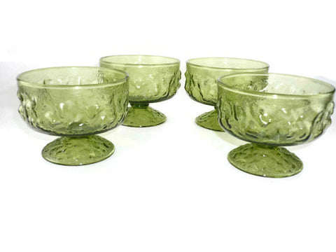 vintage avocado green anchor hocking lido sherbets