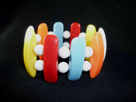 1980s Color Block Stretch Bracelet