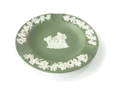 Vintage Green Wedgwood Jasperware 70 Ashtray Cupid as Oracle
