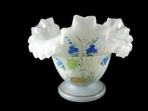 Antique Bristol glass compote with ruffled edge hand painted with blue floral design