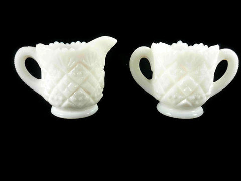 Vintage Westmoreland Thumbelina Milk Glass Creamer and Sugar Bowl