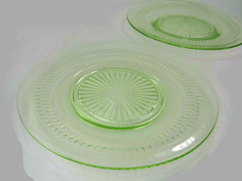Hocking Roulette Many Windows Depression Glass Plates Green