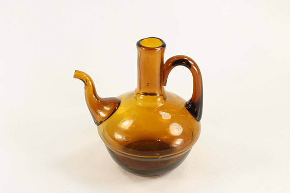 Vintage Mini Teapot in Amber Blown Glass