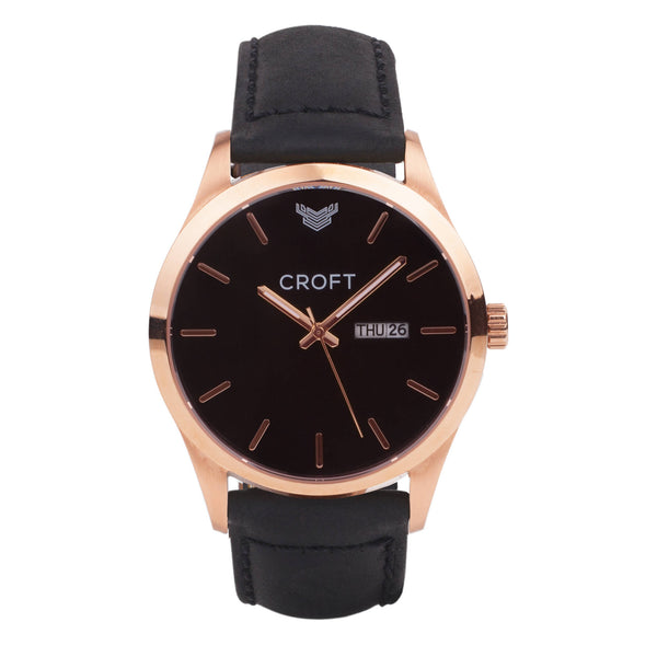 Richmond Rose Gold - Jet Black Dial - CROFT Watches