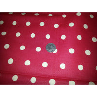 Polka dot printed cotton/linen fabric - red/ivory