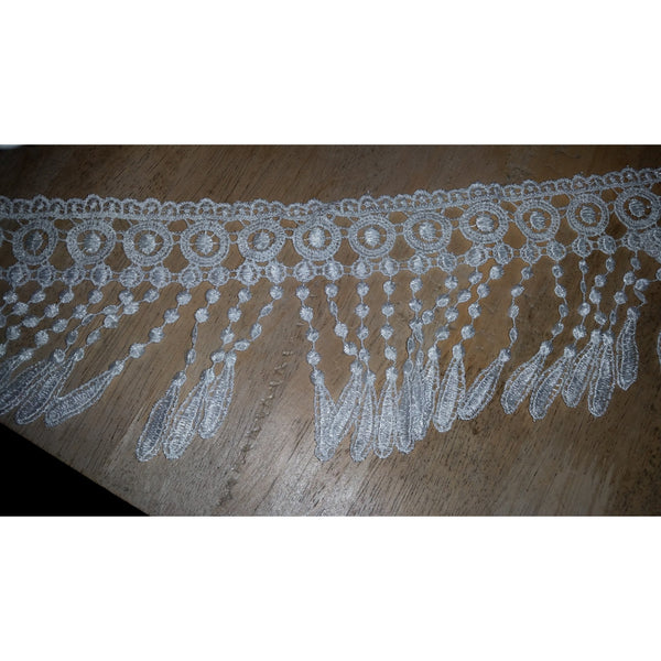 Lace fringe trim - black or white