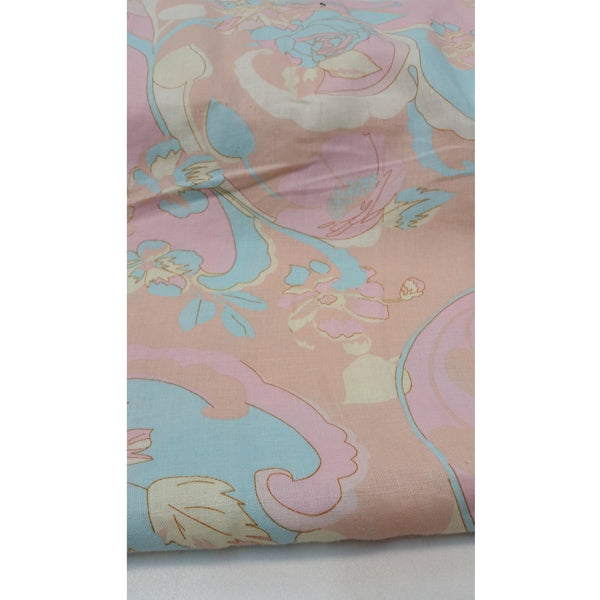 Pastel floral printed cotton/linen fabric - apricot/yellow/mint