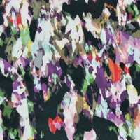 Abstract design printed stretch woven fabric - mauve/green/white/black/red