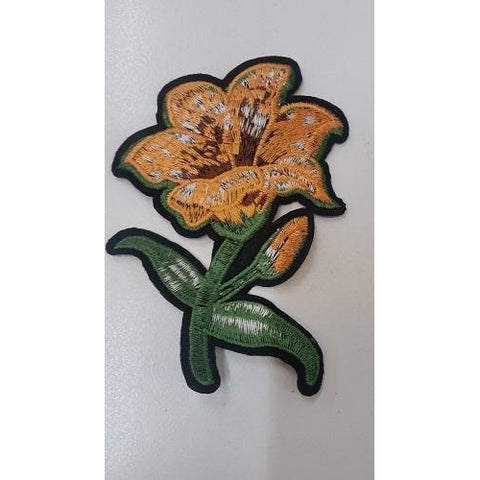 Hibiscus embroidered floral iron on applique