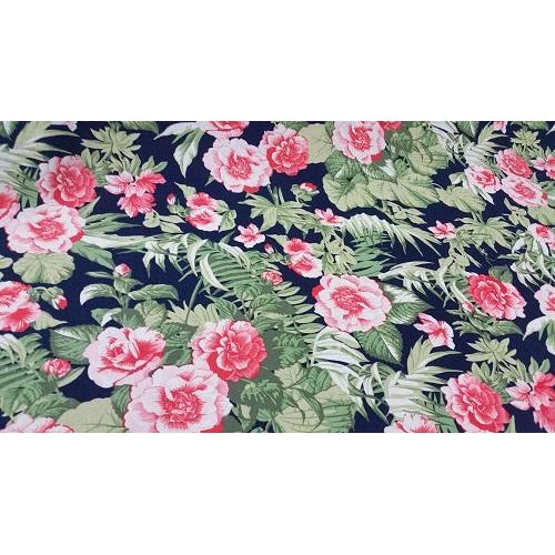 Floral printed rayon/linen - sold by 1/2mtr