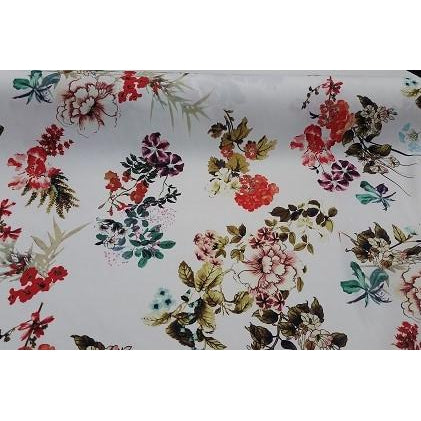 floral printed sateen - sold by 1/2mtr