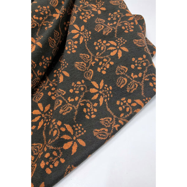 Floral design Acrylic/blend knit - chocolate/orange