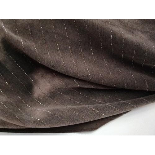 pinstripe stretch cotton suede design fabric -chocolate/silver