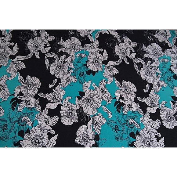 large floral design knit jersey - sold by 1/2mtr