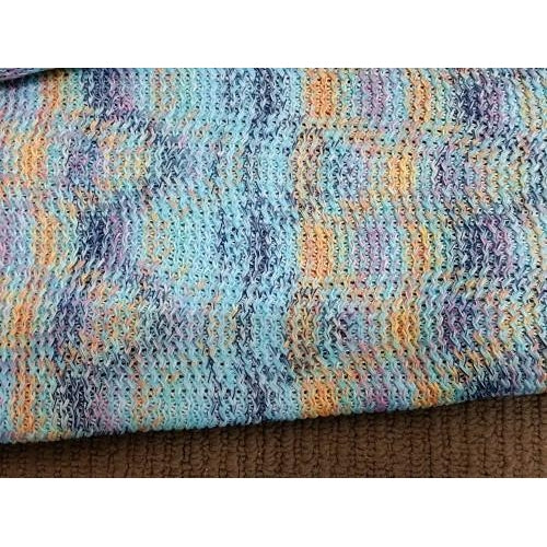 Beautiful knit fabric - aqua blue/orange/navy