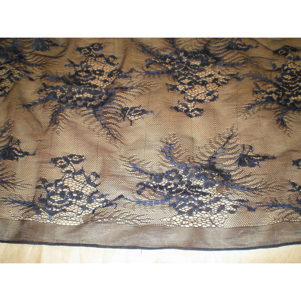 floral lace - black/dove blue