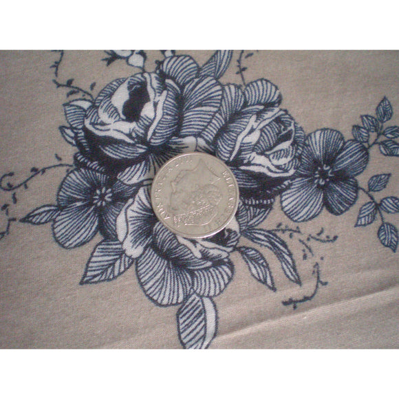floral printed jersey - latte/black/charcoal/cream- sold by 1/2mtr