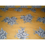 floral printed jersey - mustard/black/charcoal/cream - sold by 1/2mtr