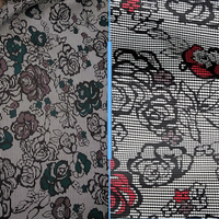 houndstooth/floral printed ponte - 2 shades - sold by 1/2mtr