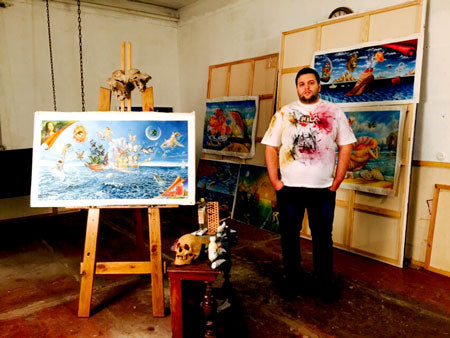 Eugene Poliarush in his studio