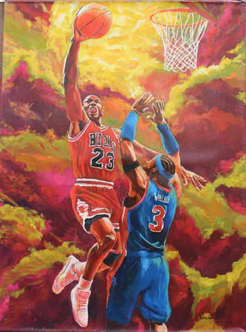 "Dimitry Turchinsky- Original Oil on Canvas ""Jordan vs. Wallace"""
