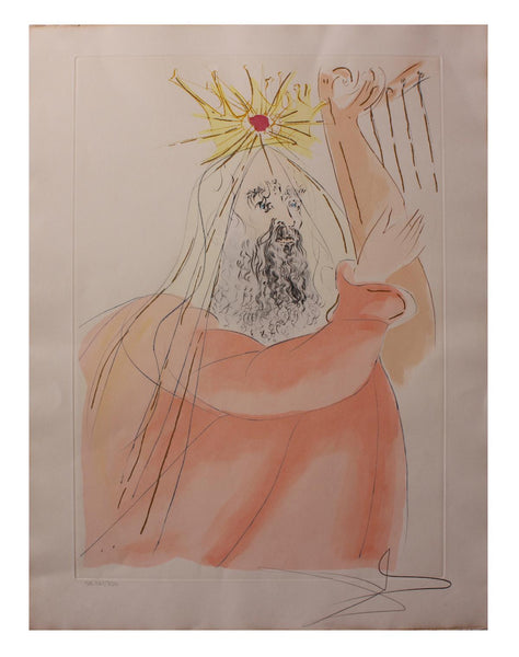 "Salvador Dali- Watercolor on Etching ""King David """