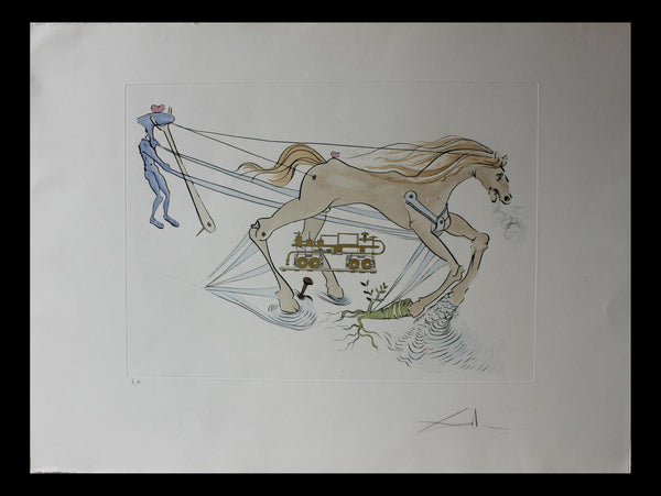 "Salvador Dali- Original Engravings with color by pochoir ""Hydraulic brake"""