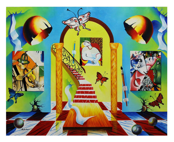 "Alexander Astahov- Original Oil on Canvas ""Stairway to Chagall Room"""