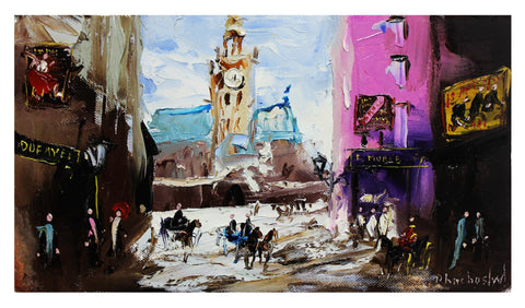 "Shalva Phachoshvili- Original Oil on Canvas ""Main Square"""