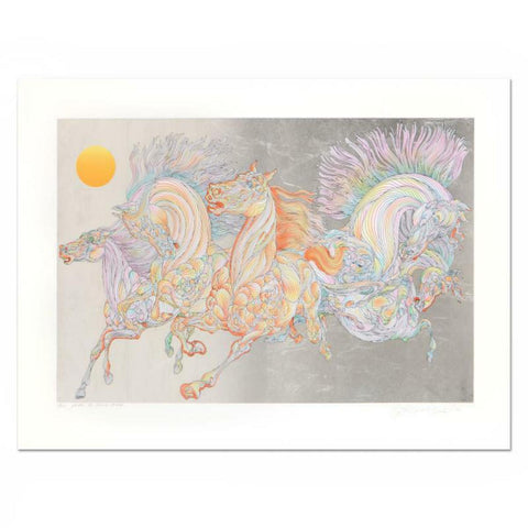 "Guillaume Azoulay- Silver Leaf Edition Serigraph on Paper ""Lever De Soleil"""