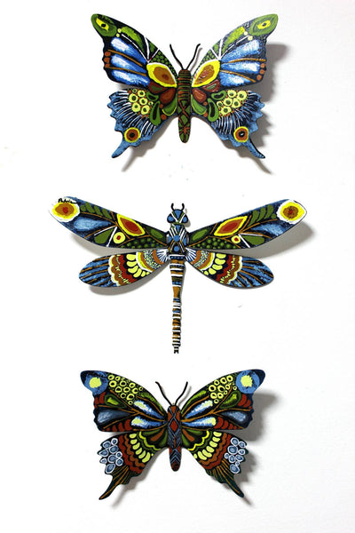 "Patricia Govezensky- Original Painting on Cutout Steel (Set of 3) ""Set of 3 Butterflies"""
