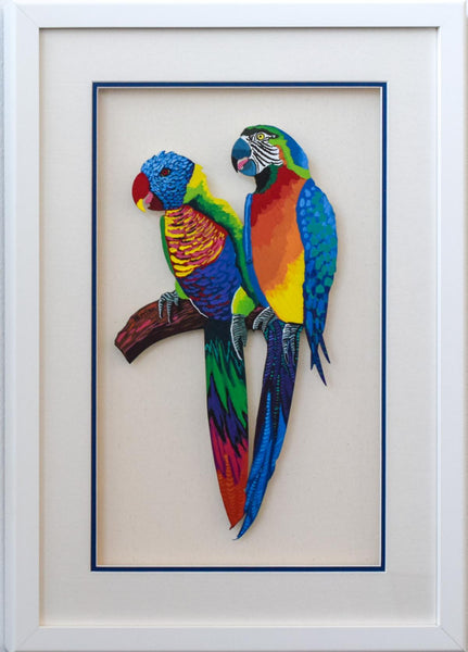 "Patricia Govezensky- Original Painting on Laser Cut Steel ""Two Parrots"""