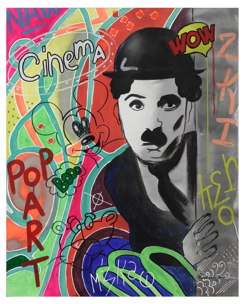 "Nastya Rovenskaya- Original Oil on Canvas ""Chaplin Is Hiding"""