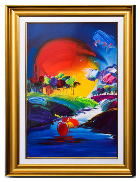 "Peter Max- Original Mixed Media ""Without Borders II 2008 #274"""