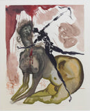 "Salvador Dali- Original Color Woodcut on B.F.K. Rives Paper ""Inferno 12"""