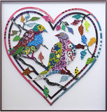 "Patricia Govezensky- Original Painting on Laser Cut Steel ""Love Birds VIII"""