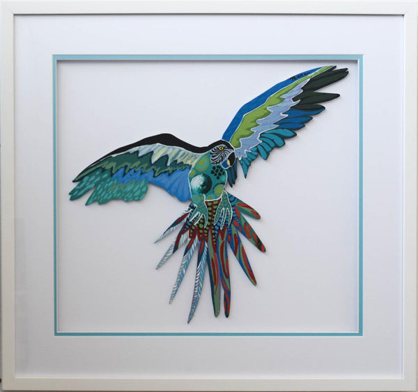 "Patricia Govezensky- Original Painting on Laser Cut Steel ""Macaw XI"""
