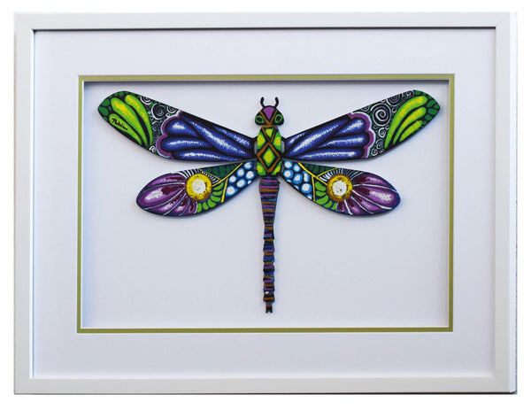 "Patricia Govezensky- Original Painting on Laser Cut Steel ""Dragonfly XXXV"""