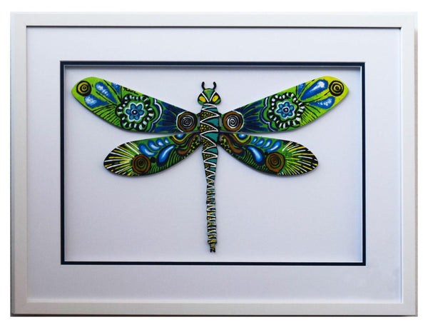 "Patricia Govezensky- Original Painting on Laser Cut Steel ""Dragonfly XL"""
