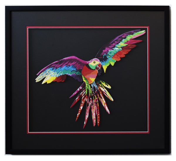 "Patricia Govezensky- Original Painting on Laser Cut Steel ""Macaw XIII"""