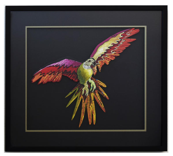 "Patricia Govezensky- Original Painting on Laser Cut Steel ""Macaw XIV"""