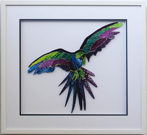 "Patricia Govezensky- Original Painting on Laser Cut Steel ""Macaw XIX"""