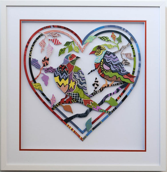 "Patricia Govezensky- Original Painting on Laser Cut Steel ""Love Birds XVI"""