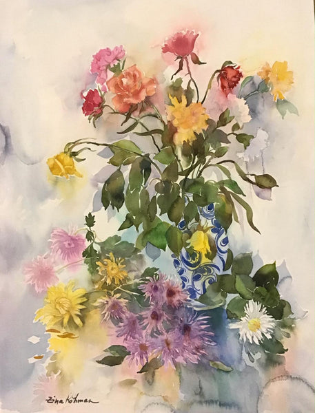 "Zina Roitman- Original Watercolor ""composition with flowers """