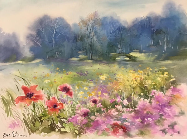 "Zina Roitman- Original Watercolor ""Poppies"""