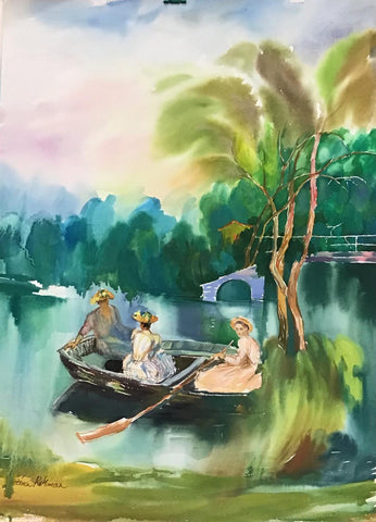 "Zina Roitman- Original Watercolor ""Sunday at the lake """