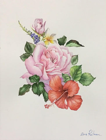 "Zina Roitman- Original Watercolor ""Bouquet"""